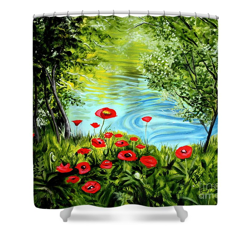 Landscape Shower Curtain featuring the painting Monte Rio Poppies by Elizabeth Robinette Tyndall