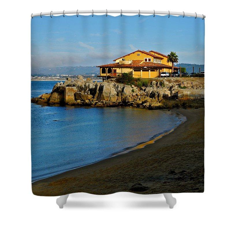 Monterey Bay Restaurant Shower Curtain featuring the photograph Monterey Bay Restaurant by Kirsten Giving