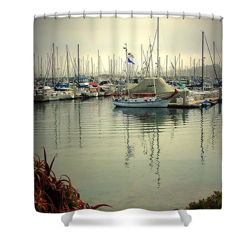 Wharf Shower Curtain featuring the photograph Monterey Marina II by Joyce Dickens