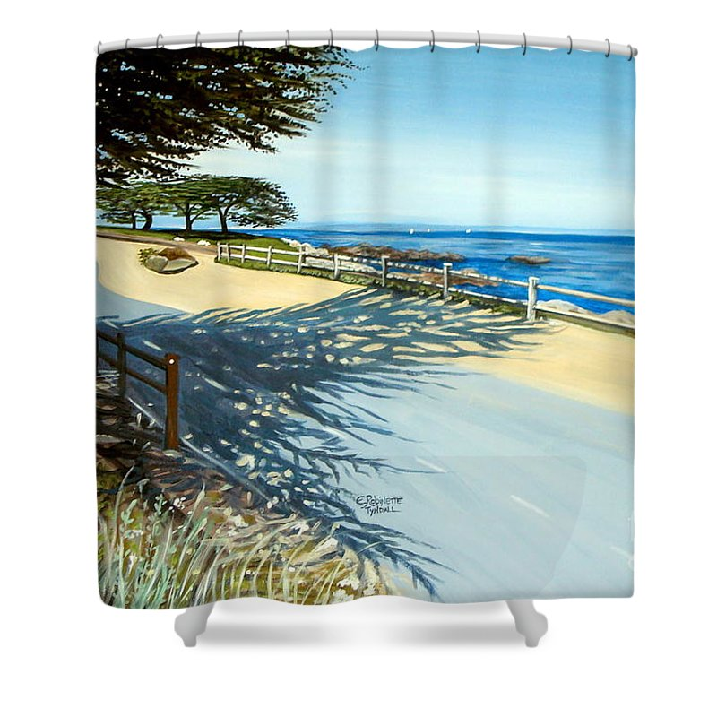 Landscape Shower Curtain featuring the painting Monterey Shadows by Elizabeth Robinette Tyndall