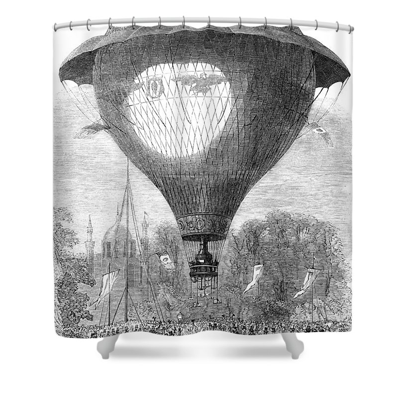 1864 Shower Curtain featuring the photograph Montgolfier Balloon, 1864 by Granger