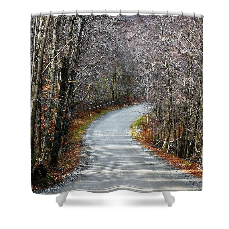 Road Shower Curtain featuring the photograph Montgomery Mountain Road by Deborah Benoit