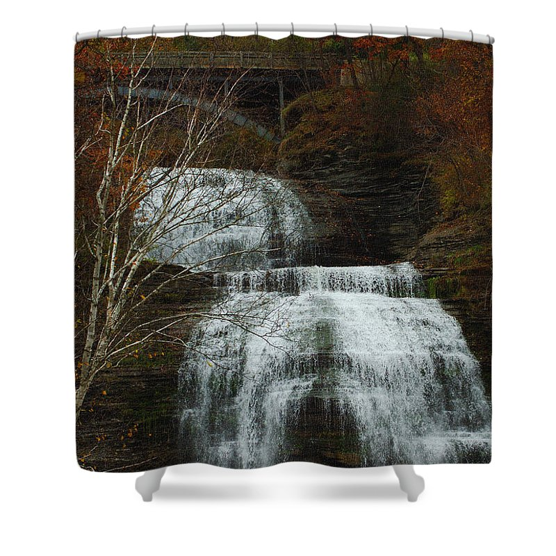 Fall Water New York Ny Shower Curtain featuring the photograph Montour Falls by Linda Murphy
