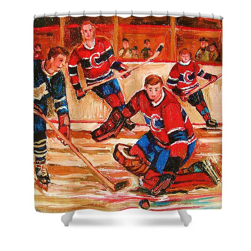 Montreal Forum Hockey Shower Curtain featuring the painting Montreal Forum Hockey Game by Carole Spandau