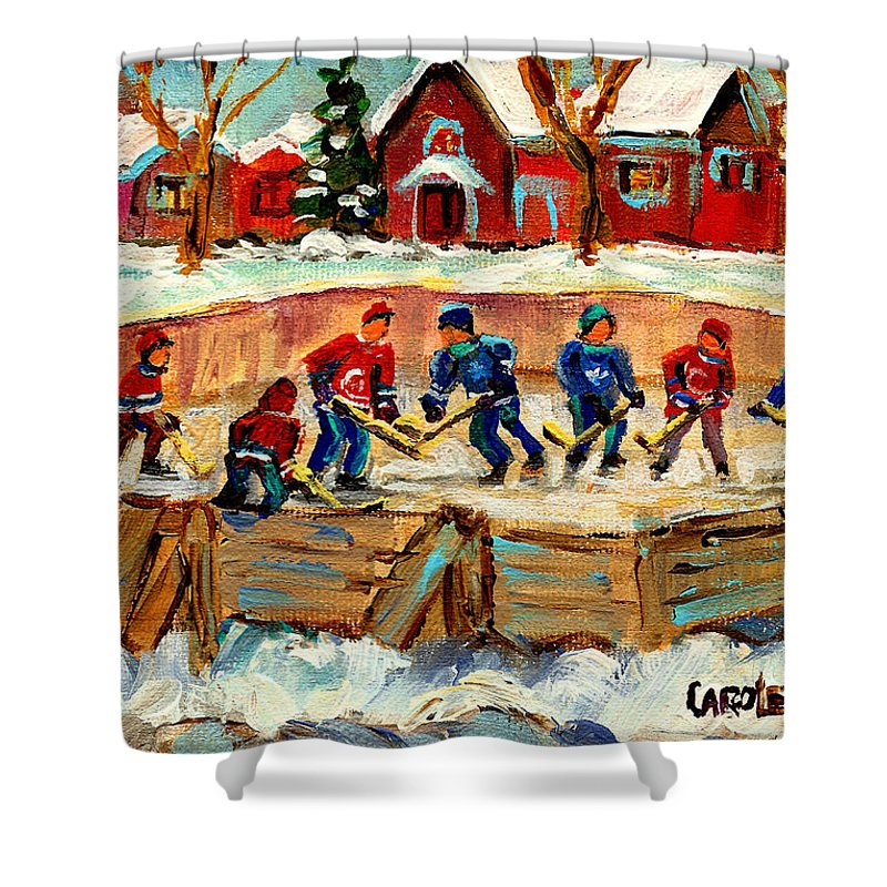 Montreal Shower Curtain featuring the painting Montreal Hockey Rinks Urban Scene by Carole Spandau