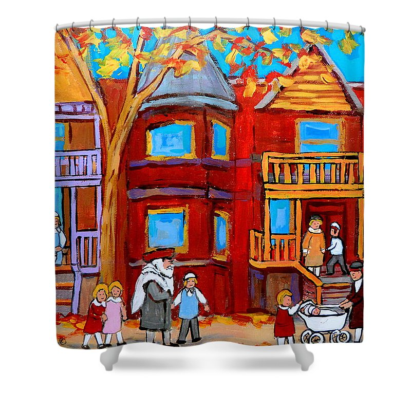 Outremont Shower Curtain featuring the painting Montreal Memories Of Zaida And The Family by Carole Spandau