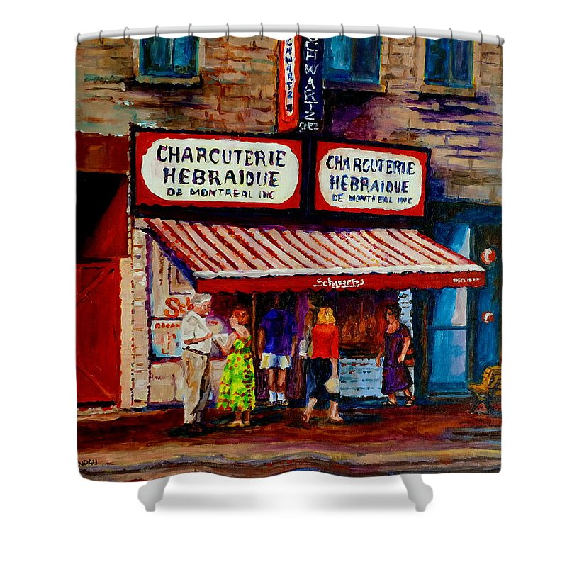 Streets Of Montreal Shower Curtain featuring the painting Montreal Paintings Available For Fundraisers By Streetscene Artist Carole Spandau by Carole Spandau