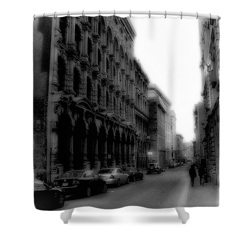 Montreal Shower Curtain featuring the photograph Montreal Street Black And White by Marko Mitic