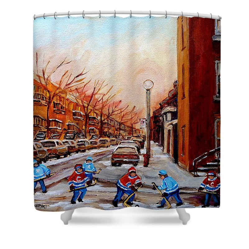 Montreal Streetscene Shower Curtain featuring the painting Montreal Street Hockey Game by Carole Spandau