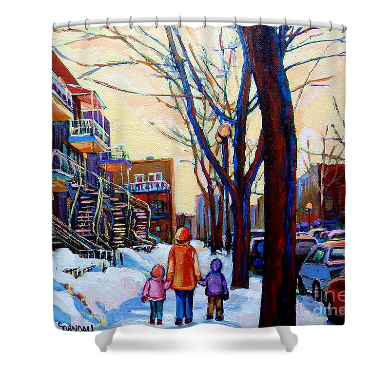 Montreal Shower Curtain featuring the painting Montreal Winter by Carole Spandau