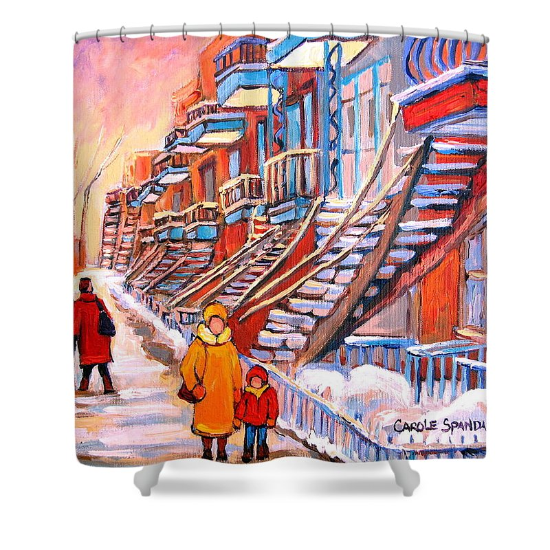 Montreal Shower Curtain featuring the painting Montreal Winter Walk by Carole Spandau