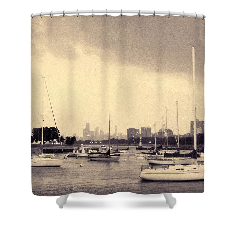 Montrose Harbor Shower Curtain featuring the photograph Montrose Harbor Skyline by Kyle Hanson