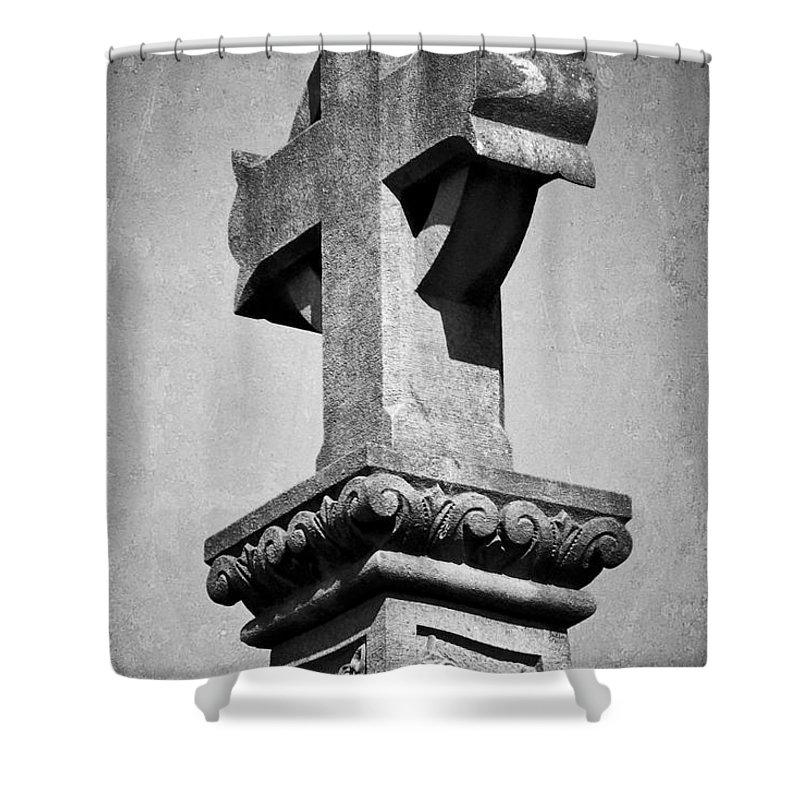 Irish Shower Curtain featuring the photograph Monument Cross Macroom Ireland by Teresa Mucha