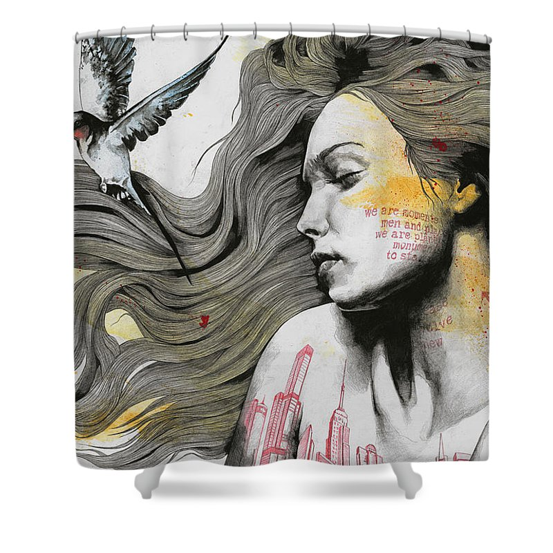 Skyline Shower Curtain featuring the drawing Monument - Long Hair Girl With Bird And Skyline Tattoo by Marco Paludet