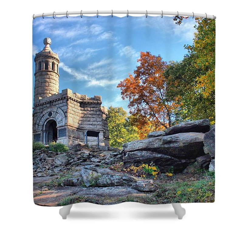 Gettysburg Shower Curtain featuring the photograph Monument To The 44th by DJ Florek