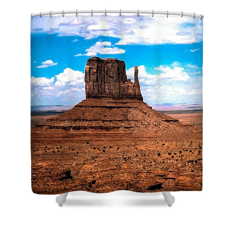 Monument Valley Shower Curtain featuring the photograph Monument Valley Monolith by Tom Zukauskas