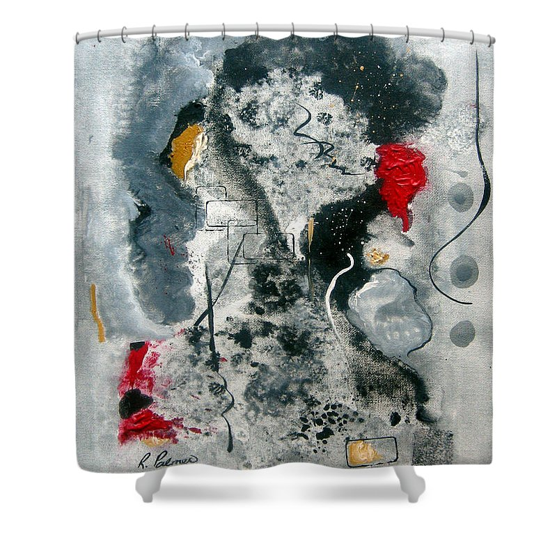 Abstract Shower Curtain featuring the painting Moods by Ruth Palmer