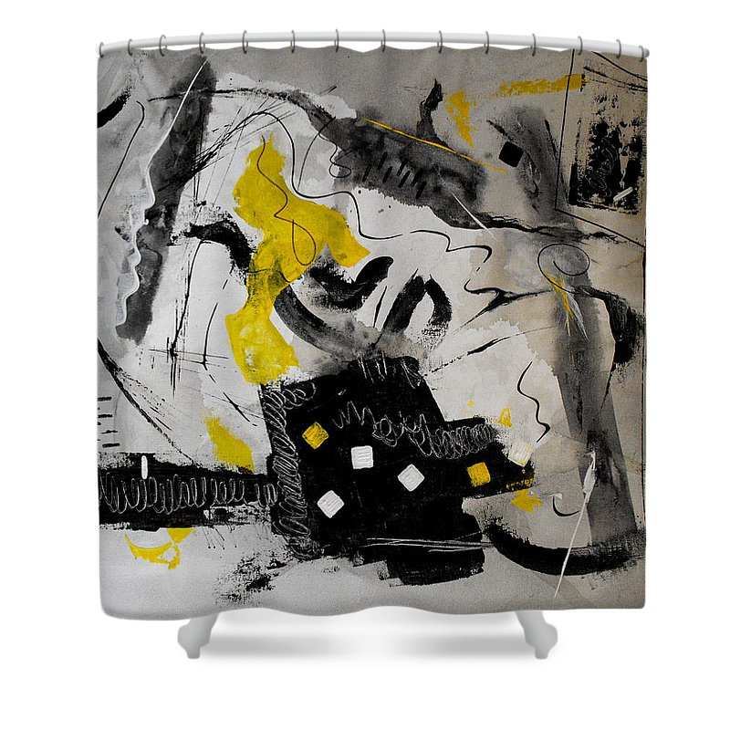 \ruth Palmer\ Shower Curtain featuring the painting Moods Yellow Let It All Hang Out by Ruth Palmer