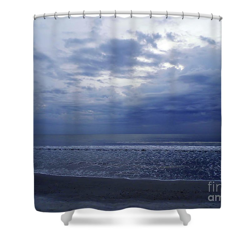 Sunrise Shower Curtain featuring the photograph Moody Blue Beach by D Hackett