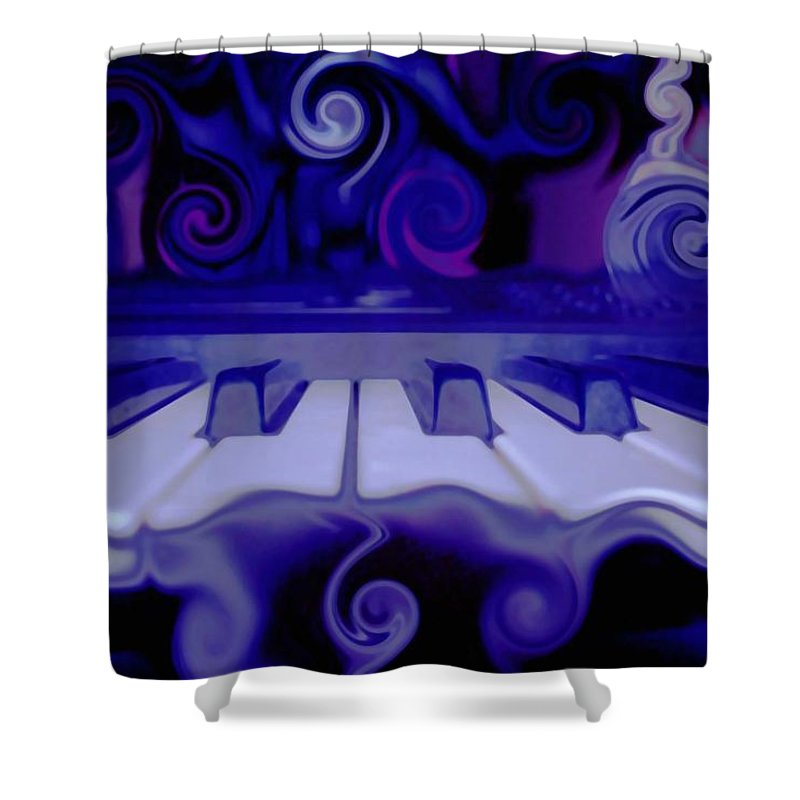 Music Shower Curtain featuring the photograph Moody Blues by Linda Sannuti