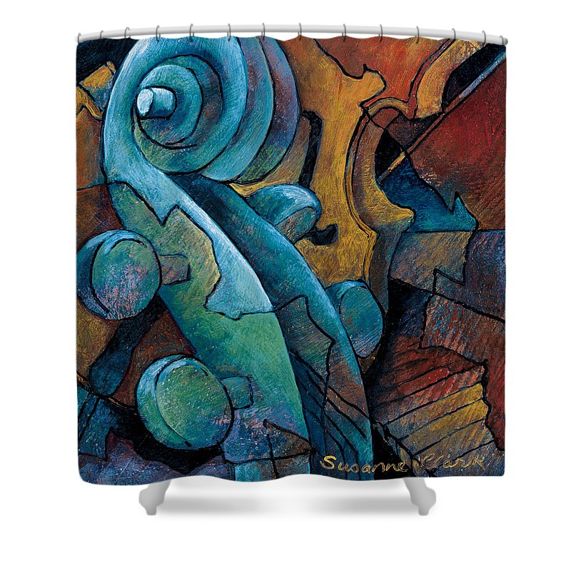 Cello Artwork Shower Curtain featuring the painting Moody Blues by Susanne Clark