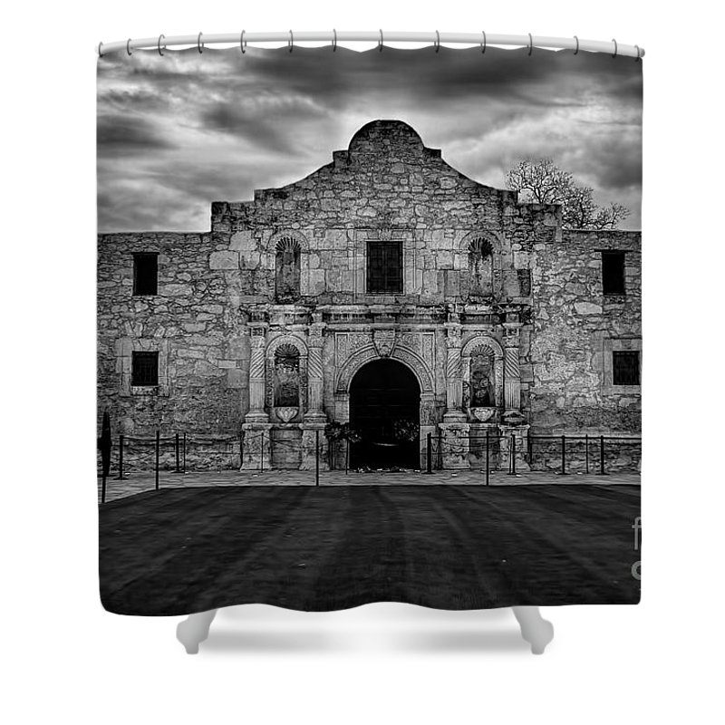 Moody Morning At The Alamo Bw Shower Curtain featuring the photograph Moody Morning At The Alamo Bw by Jemmy Archer