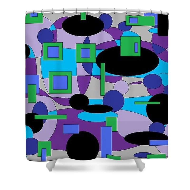 Digital Abstract Shower Curtain featuring the digital art Moody Purple by Jordana Sands