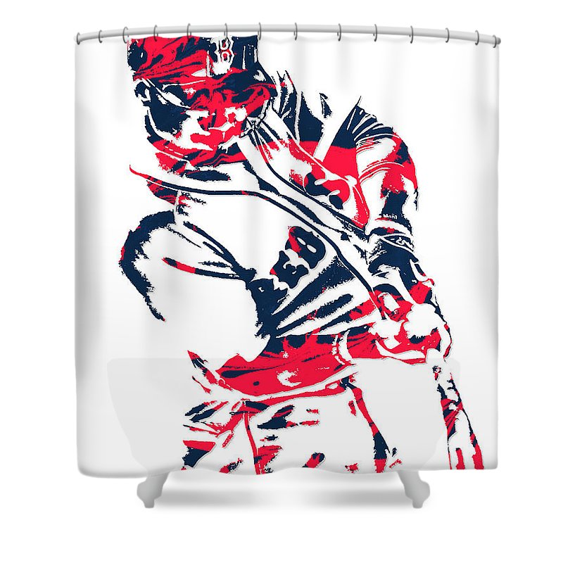 Mookie Betts Shower Curtain Featuring The Mixed Media Boston Red Sox Pixel Art 3