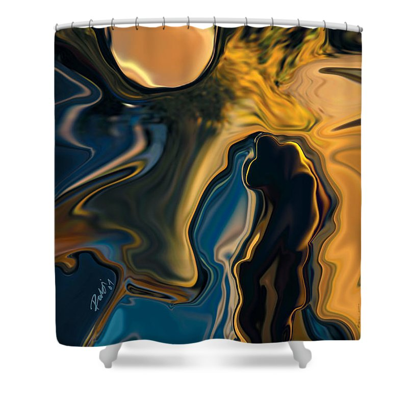 Moon Shower Curtain featuring the digital art Moon And Fiance by Rabi Khan