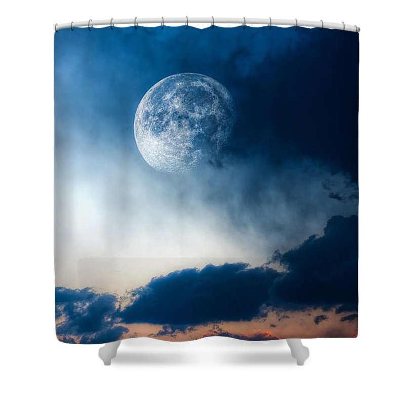 Sky Shower Curtain featuring the photograph Moon by Bob Orsillo