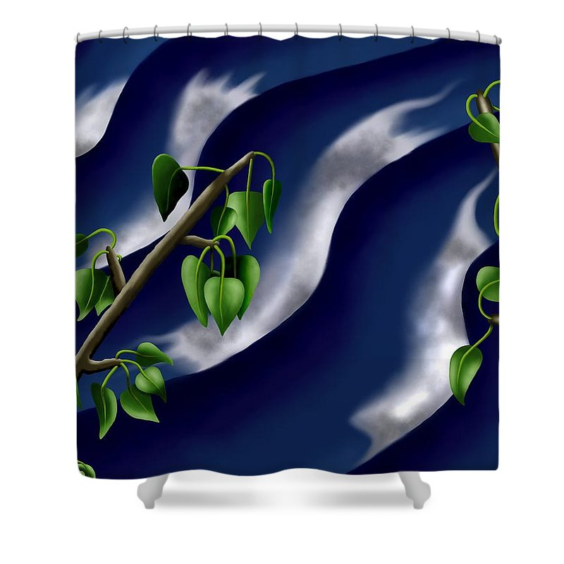 Surrealism Shower Curtain featuring the digital art Moon-glow I - Poplars Over Water At Night by Robert Morin