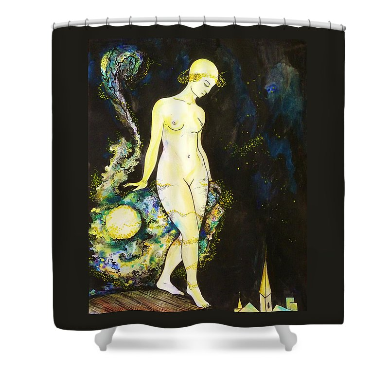 Pen And Ink Shower Curtain featuring the drawing Moon Light by Anna Duyunova