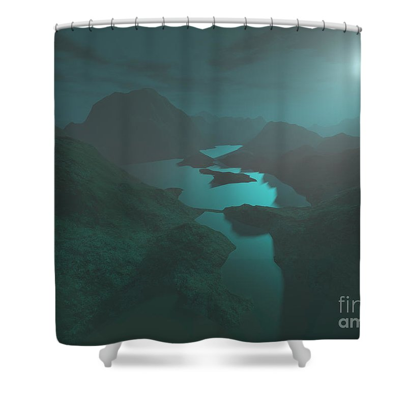 Digital Art Shower Curtain featuring the digital art Moon Light At The Mountains by Gaspar Avila