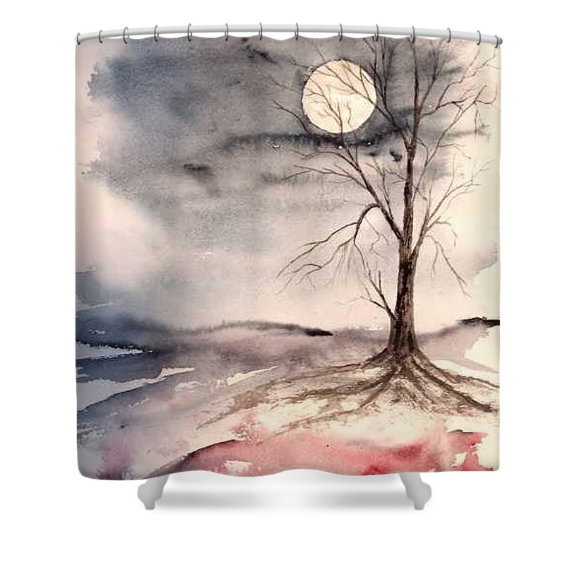 Moon Shower Curtain featuring the painting Moon Light by Derek Mccrea
