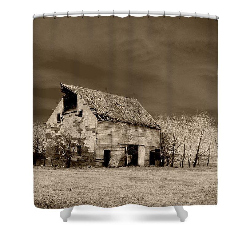 Barn Shower Curtain featuring the photograph Moon Lit Sepia by Julie Hamilton