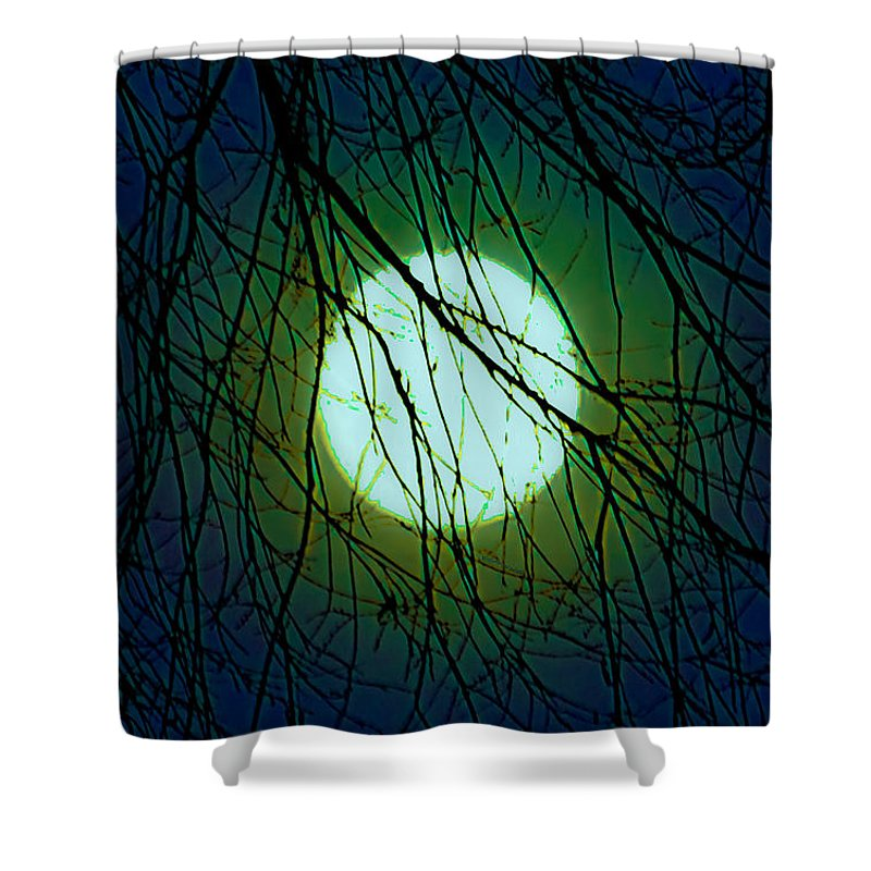 Moon Shower Curtain featuring the digital art Moon Of The Werewolf by DigiArt Diaries by Vicky B Fuller