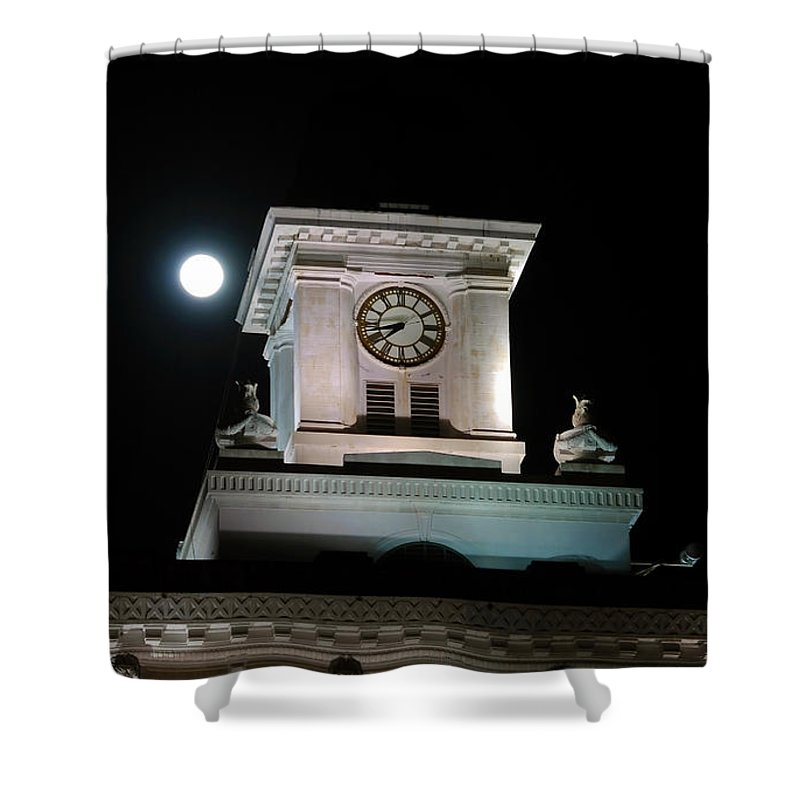 Full Moon Shower Curtain featuring the photograph Moon Over City Hall by David Lee Thompson