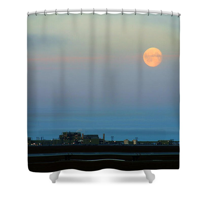 Landscape Shower Curtain featuring the photograph Moon Over Flow Station 1 by Anthony Jones