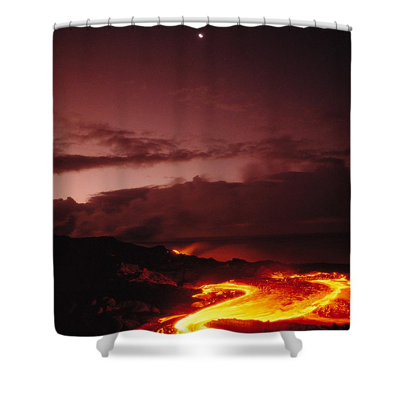 Active Shower Curtain featuring the photograph Moon Over Lava At Dawn by Peter French - Printscapes