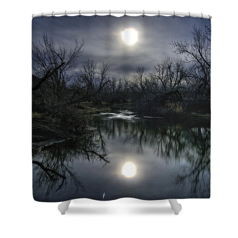 Moon Shower Curtain featuring the photograph Moon Over Sand Creek by Fiskr Larsen