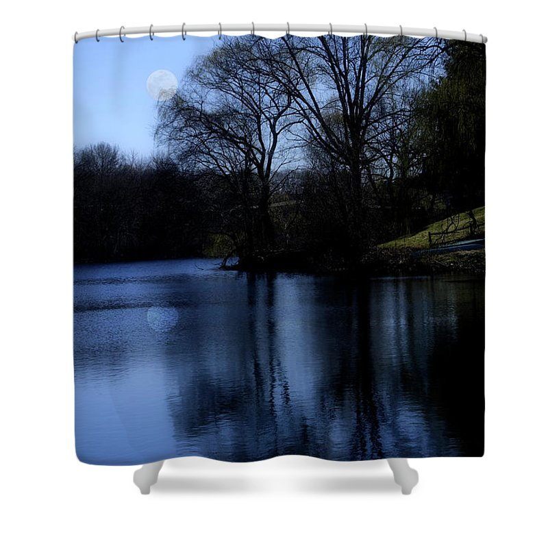 Moon Shower Curtain featuring the digital art Moon Over The Charles by Edward Cardini