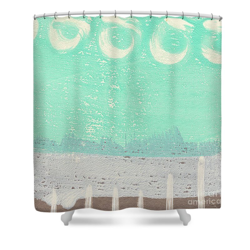 Abstract Shower Curtain featuring the painting Moon Over The Sea by Linda Woods