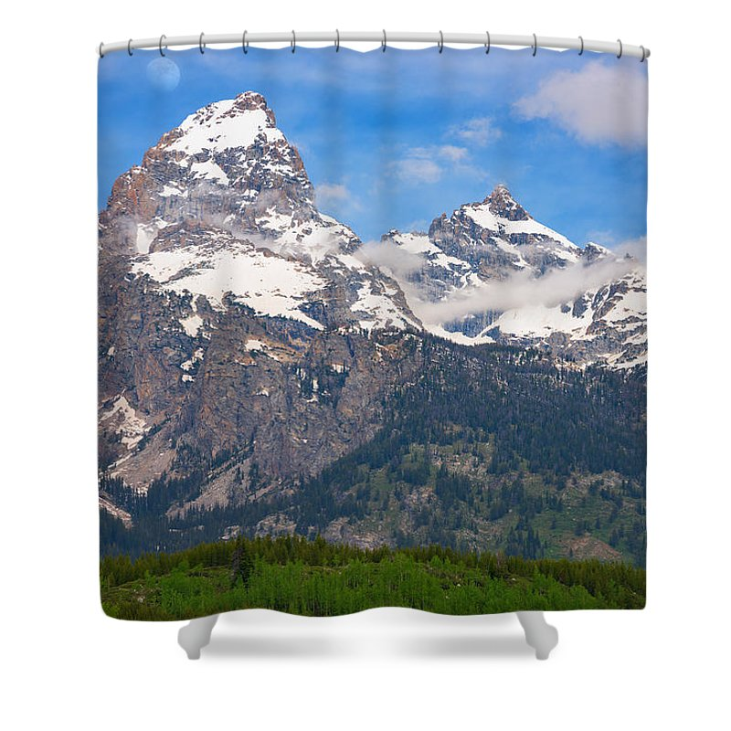 Moon Shower Curtain featuring the photograph Moon Over The Tetons by Darren White