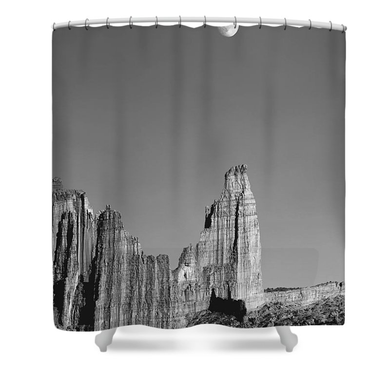 Moon Shower Curtain featuring the photograph 612751-moon Over The Titan by Ed Cooper Photography
