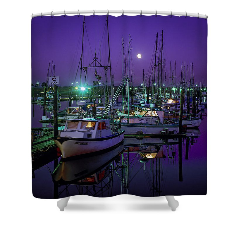 Bays Shower Curtain featuring the photograph Moon Over Winchester Bay by Robert Potts