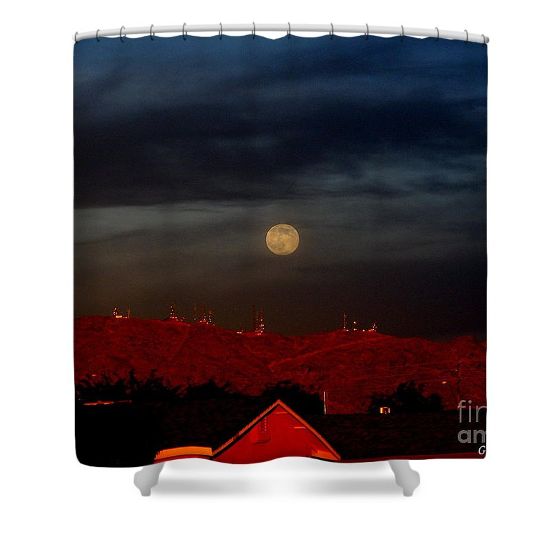 Patzer Shower Curtain featuring the photograph Moon Over Yuma by Greg Patzer