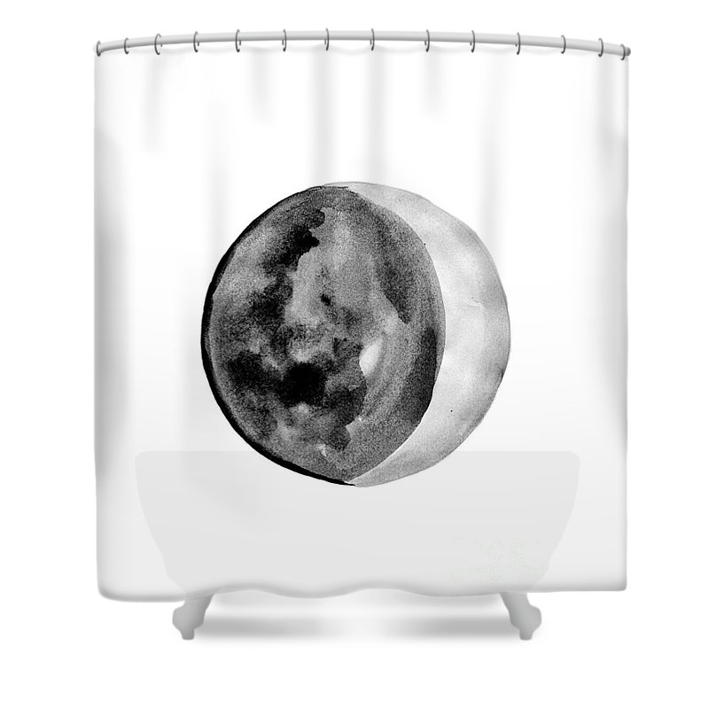 First Quarter Phase Shower Curtain featuring the painting Moon Phase by Sweeping Girl