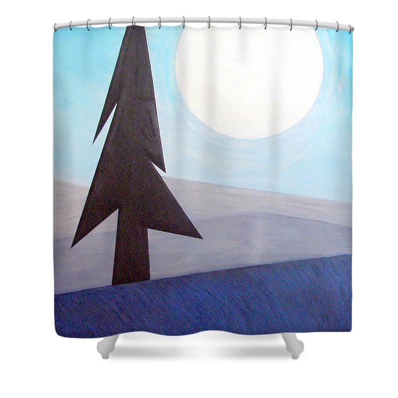 Impressionist Painting Shower Curtain featuring the painting Moon Rings by J R Seymour