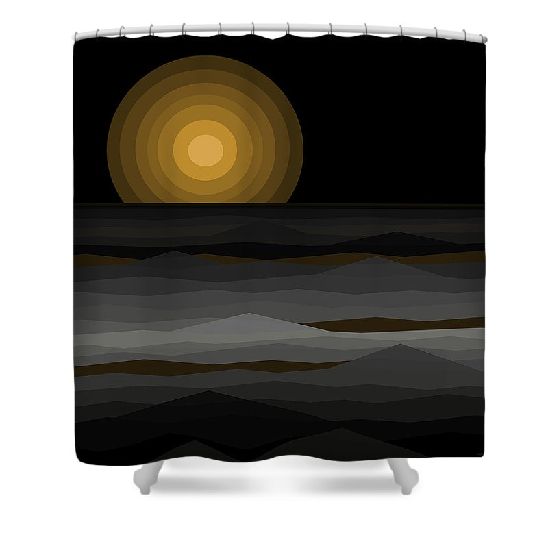Moon Rise Abstract Shower Curtain featuring the digital art Moon Rise Abstract - Black And Gold by Val Arie