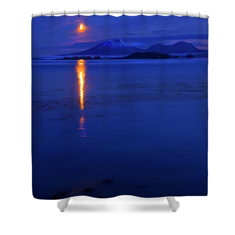 Mt. Edgecumbe Shower Curtain featuring the photograph Moon Rise Over Mt. Edgecumbe by Mike Dawson